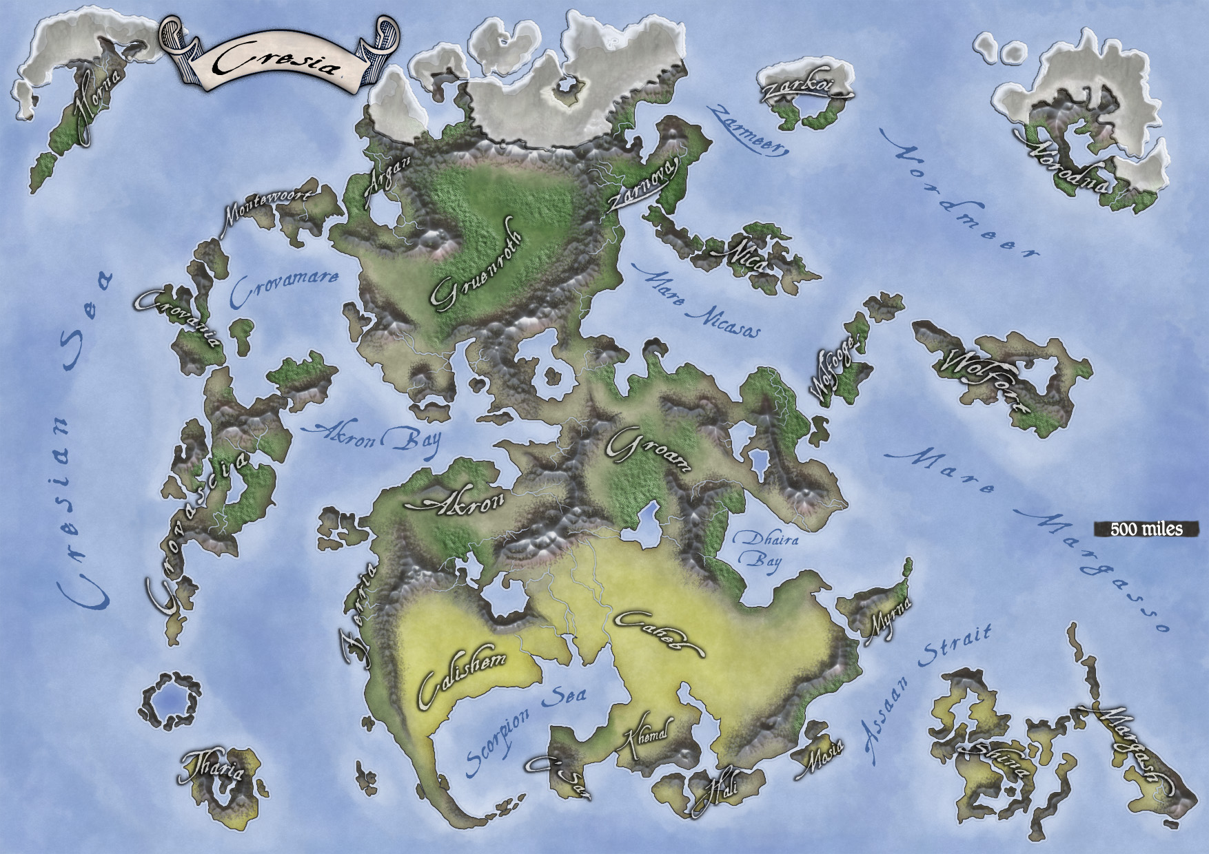 Cresia continent map