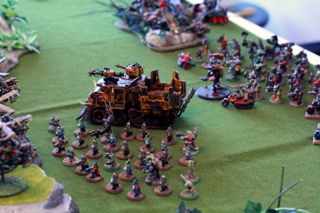 Some first turn advancement  resulting in a couple of dead Gretchins due to dangerous Terrain caused by Necron majiks.