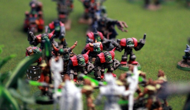 Orks are itching to kick some butt. Again. The Necron Lord and Imhotek got killed a total of 10 times this game ... exceptionally lucky bastards remained standing as linebreaker units at the end of the game.