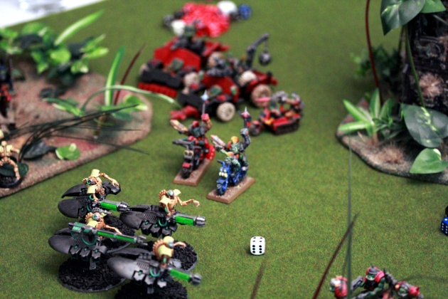 This picture shows all the remaining Necron models (apart from the one apathetic Monolith standing useless a couple of yards away).
