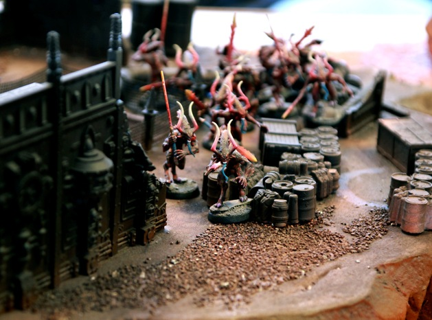 Bloodletters jogging through the industrial complex towards the other objective never did make it in time. They still had 10 inches to go so they might have botched reaching it even if the game would have went to turn 7.