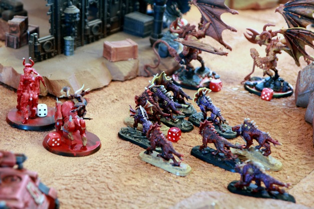 Full steam ahead for the Chaos Daemons' remaining horde. All these babies are heading towards Dante's team ...