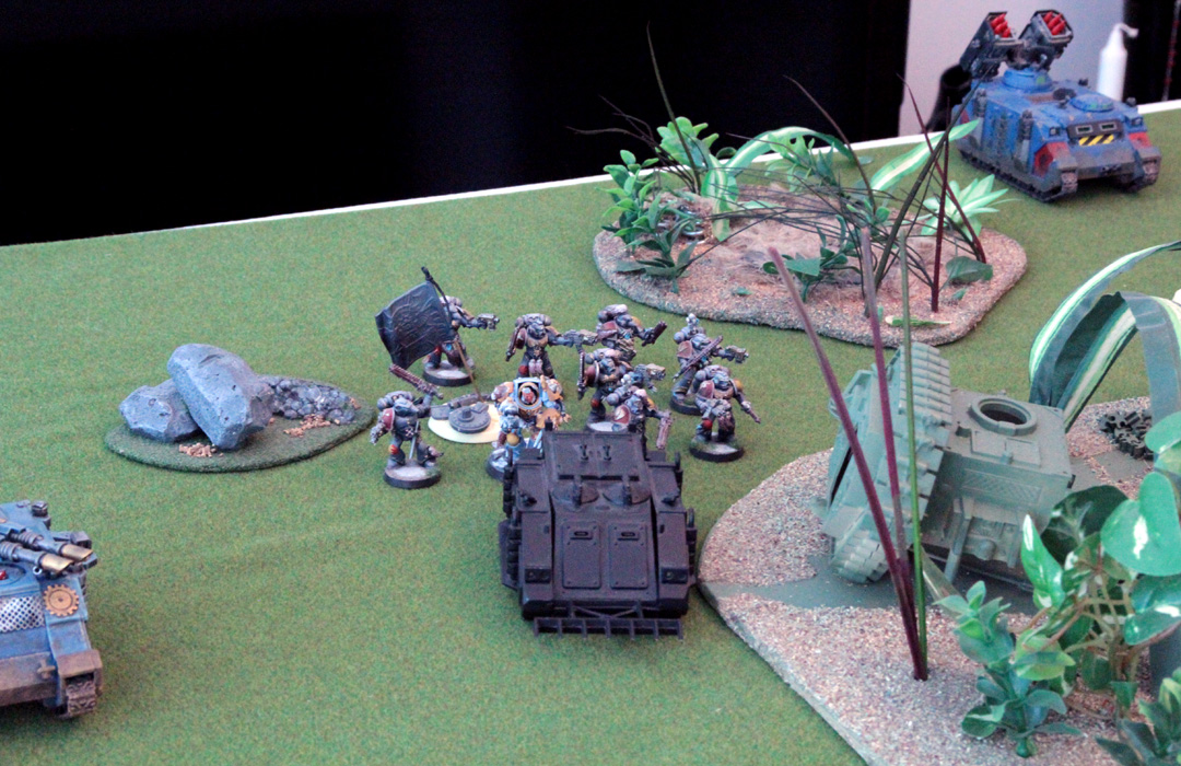 Nothing much to see here ... Rhino moves slowly and the Grey Hunters just arrange themselves near the objective area.