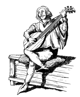 A Minstrel Performing at the Wyvern's Nest Inn